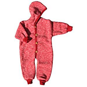 Комбинезон детский из шерстяного флиса с капюшоном на пуговицах COSILANA (Козилана) 100% шерсть цвет Красный Меланж