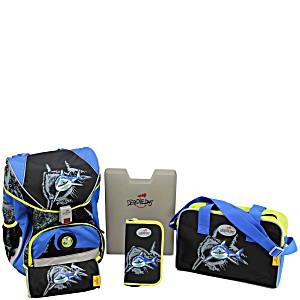 Школьный ранец DerDieDas ErgoFlex с наполнением Белая Акула + нагрудный ремень