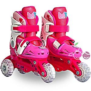 Роликовые коньки детские 25 размер, для обучения (трансформеры, раздвижной ботинок) MagicWheels розовые